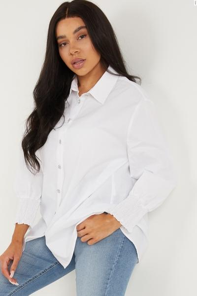 Curve White Shirred Shirt